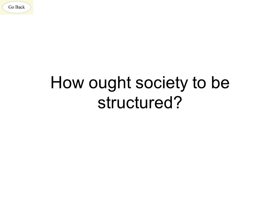How ought society to be structured?