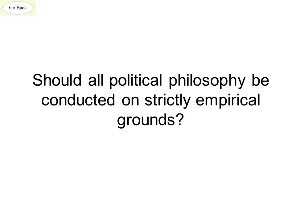 Should all political philosophy be conducted on strictly empirical grounds?