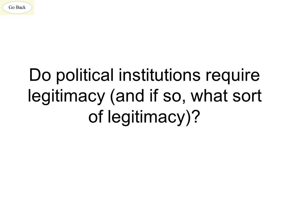 Do political institutions require legitimacy (and if so, what sort of legitimacy)