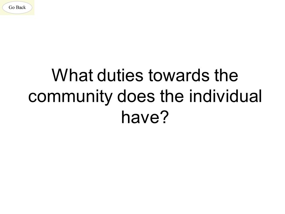 What duties towards the community does the individual have