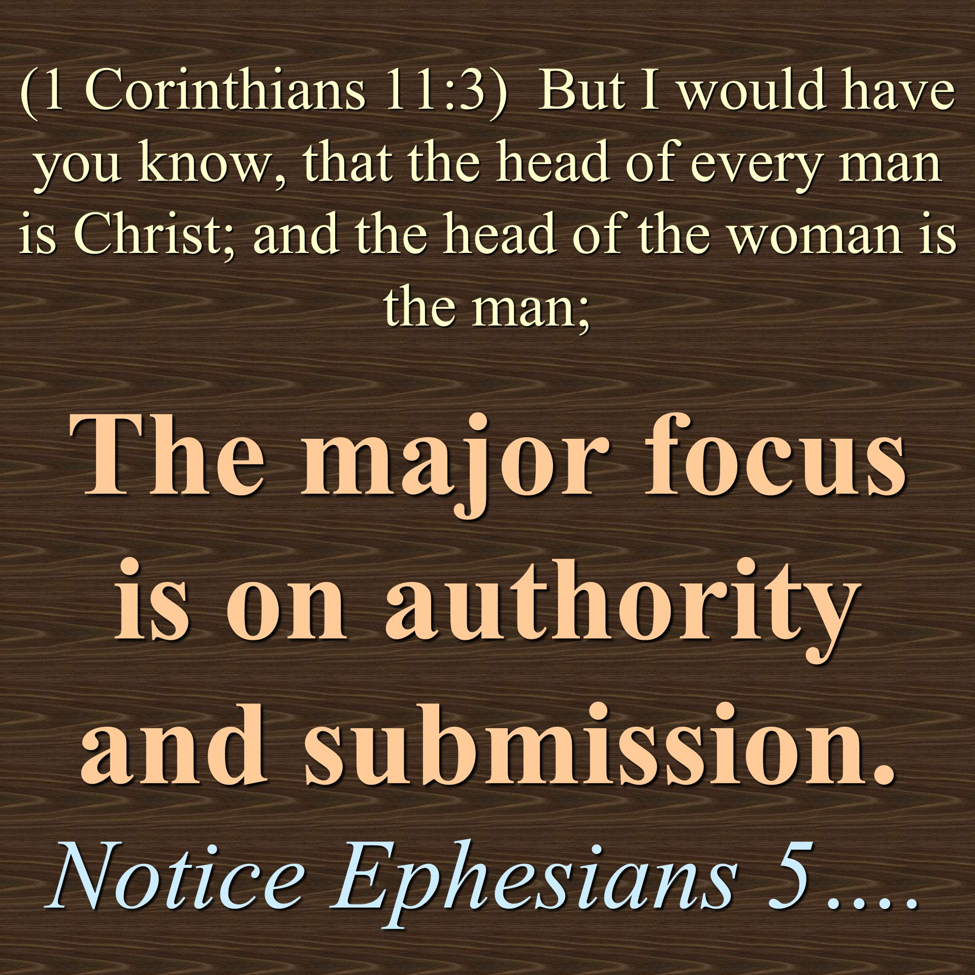 The major focus is on authority and submission. Notice Ephesians 5….