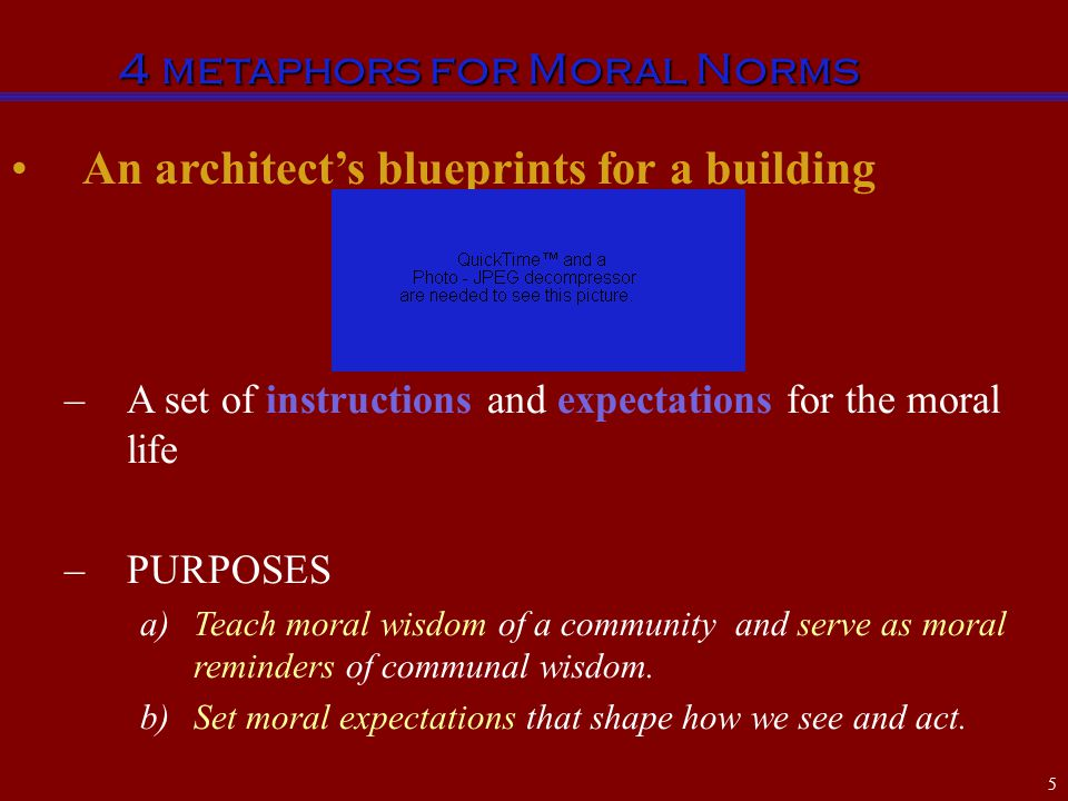 An architect's blueprints for a building –A set of instructions and expectations for the moral life –PURPOSES a)Teach moral wisdom of a community and