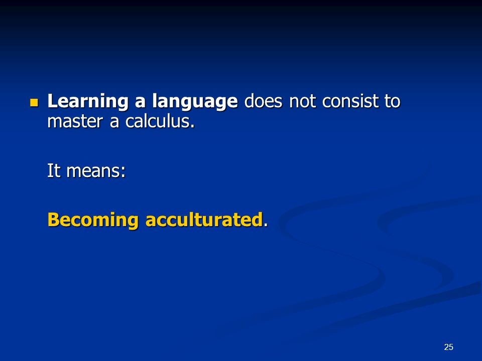 25 Learning a language does not consist to master a calculus.