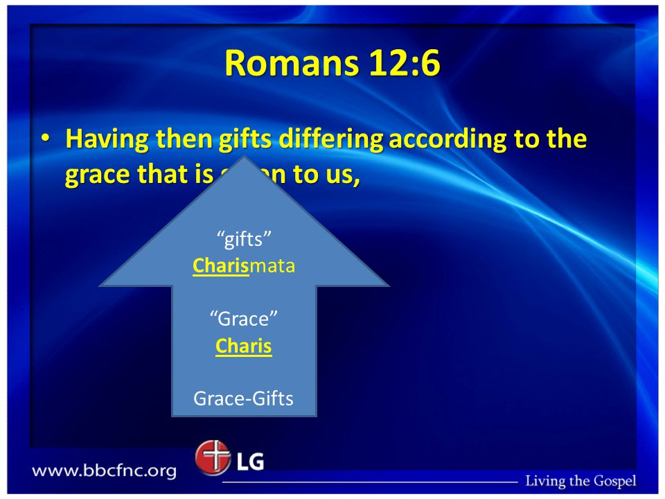 Romans 12:6 Having then gifts differing according to the grace that is given to us, Having then gifts differing according to the grace that is given t
