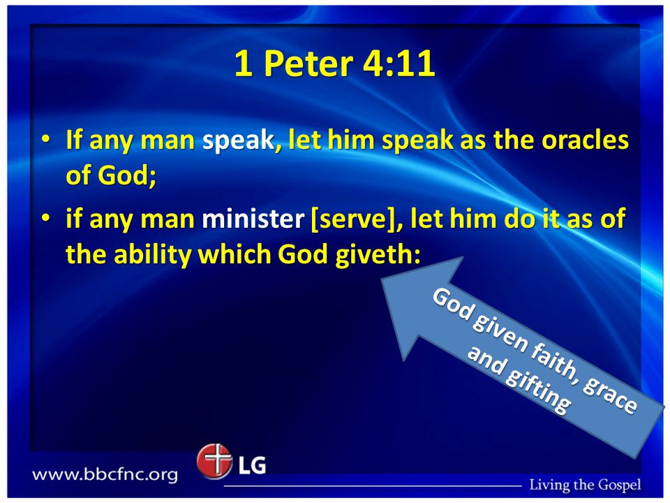 1 Peter 4:11 If any man speak, let him speak as the oracles of God; If any man speak, let him speak as the oracles of God; if any man minister [serve]