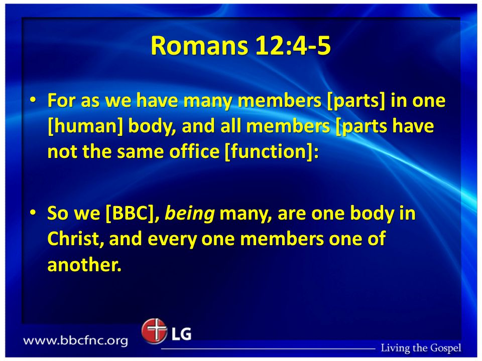Romans 12:4-5 For as we have many members [parts] in one [human] body, and all members [parts have not the same office [function]: For as we have many