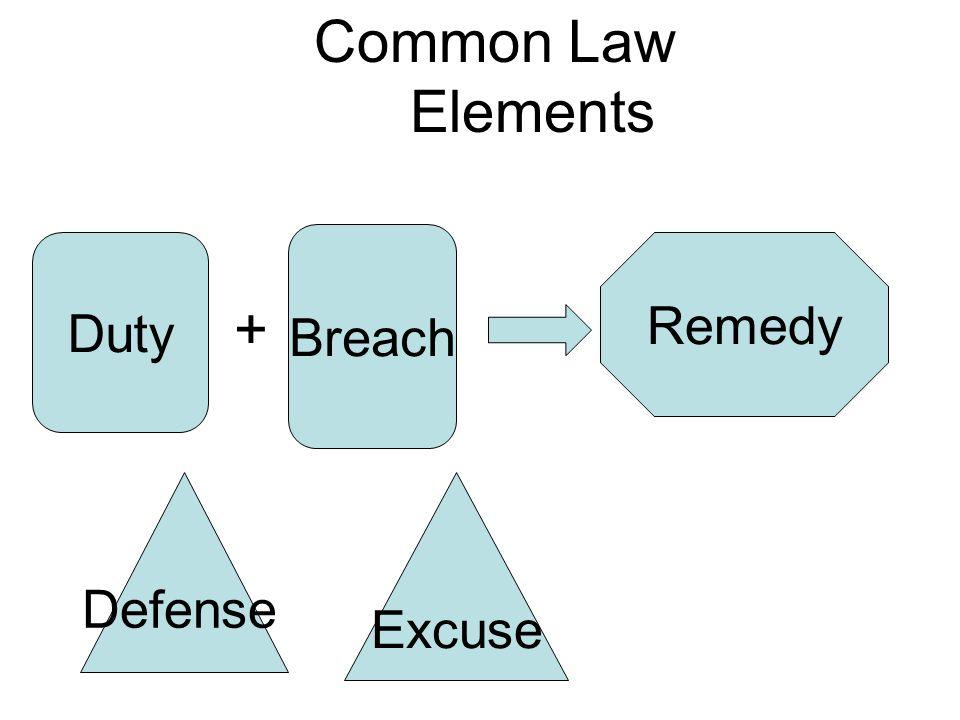 Duty + Breach Remedy Common Law Elements Defense Excuse