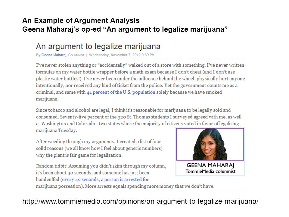 An Example of Argument Analysis Geena Maharaj's op-ed An argument to legalize marijuana http://www.tommiemedia.com/opinions/an-argument-to-legalize-marijuana/