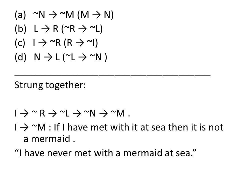 (a) ~N → ~M (M → N) (b) L → R (~R → ~L) (c) I → ~R (R → ~I) (d) N → L (~L → ~N ) _____________________________________ Strung together: I → ~ R → ~L →