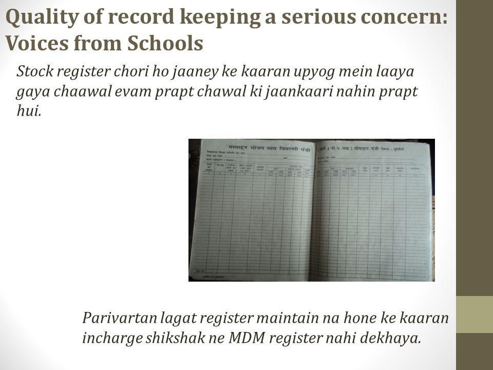 Stock register chori ho jaaney ke kaaran upyog mein laaya gaya chaawal evam prapt chawal ki jaankaari nahin prapt hui.