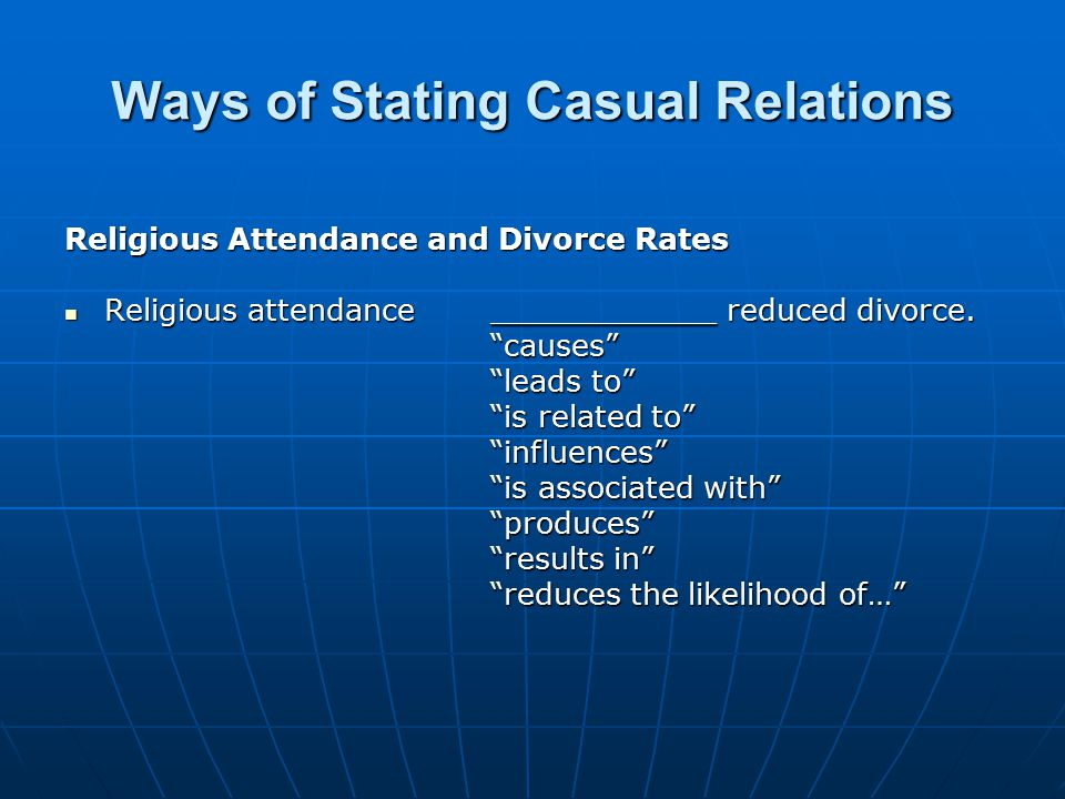 Ways of Stating Casual Relations Religious Attendance and Divorce Rates Religious attendance ____________ reduced divorce.