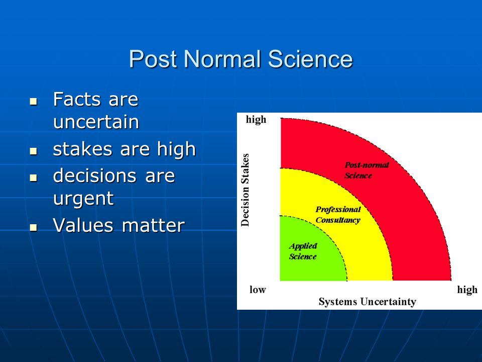 Post Normal Science Facts are uncertain Facts are uncertain stakes are high stakes are high decisions are urgent decisions are urgent Values matter Values matter