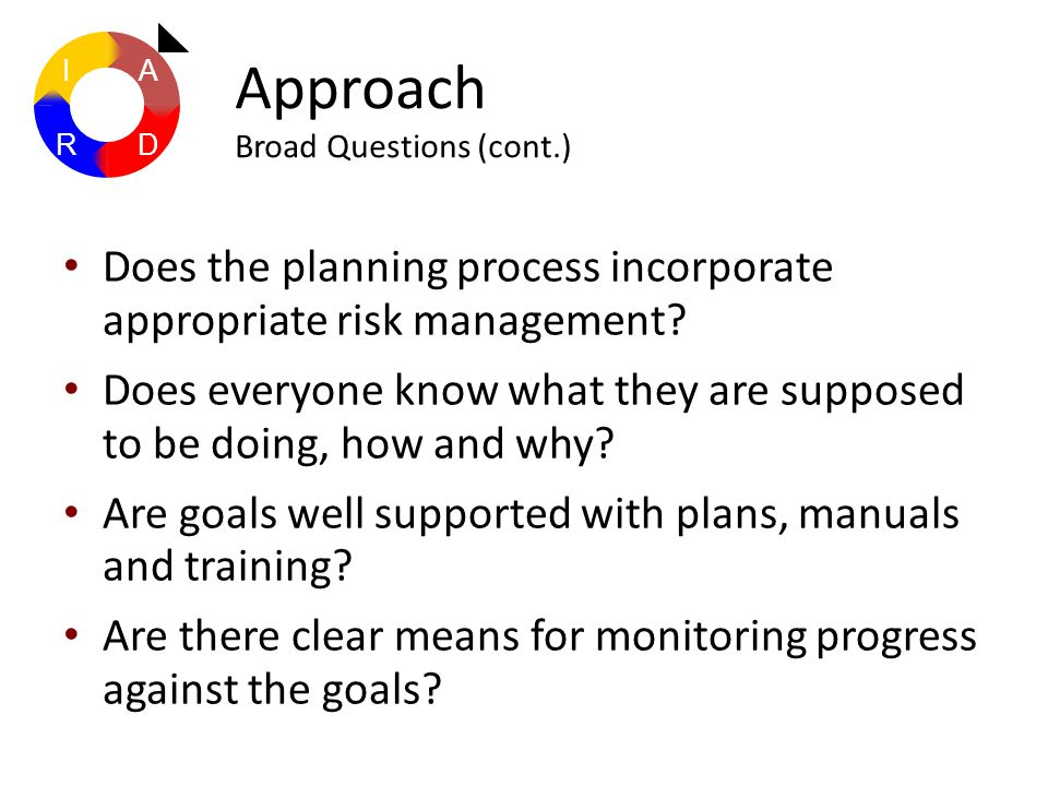 Does the planning process incorporate appropriate risk management? Does everyone know what they are supposed to be doing, how and why? Are goals well