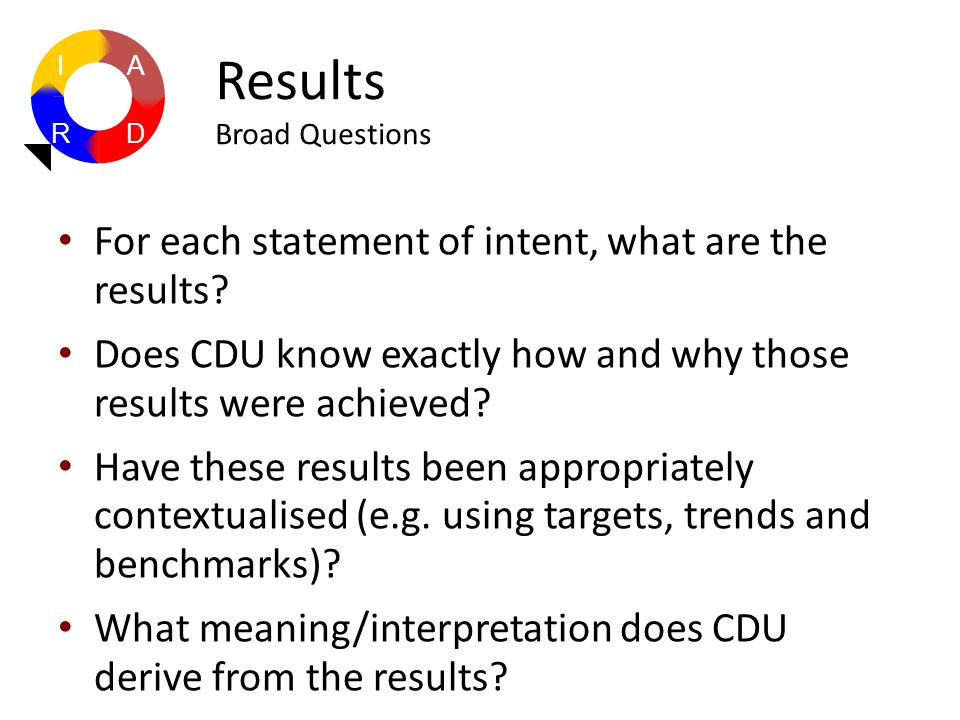 For each statement of intent, what are the results? Does CDU know exactly how and why those results were achieved? Have these results been appropriate