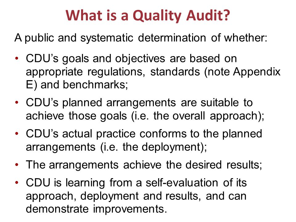 What is a Quality Audit.