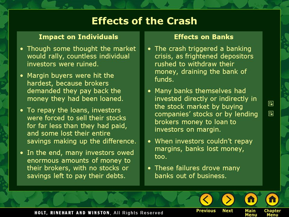 Effects of the Crash Impact on Individuals Though some thought the market would rally, countless individual investors were ruined. Margin buyers were