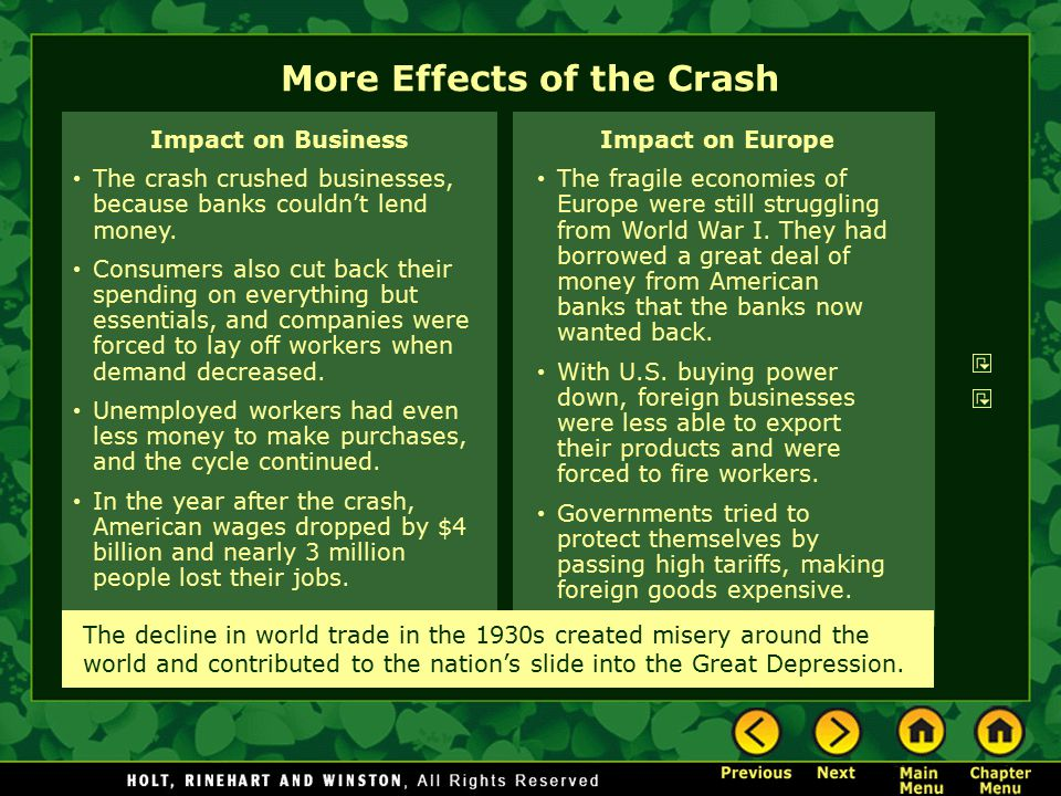 More Effects of the Crash Impact on Europe The fragile economies of Europe were still struggling from World War I. They had borrowed a great deal of m