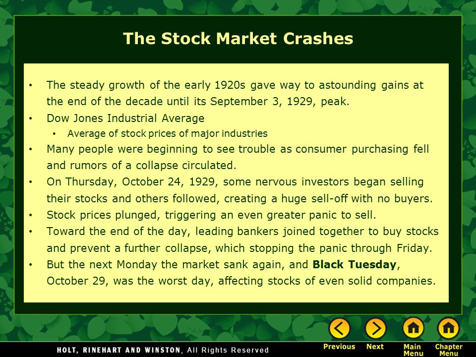 The Stock Market Crashes The steady growth of the early 1920s gave way to astounding gains at the end of the decade until its September 3, 1929, peak.