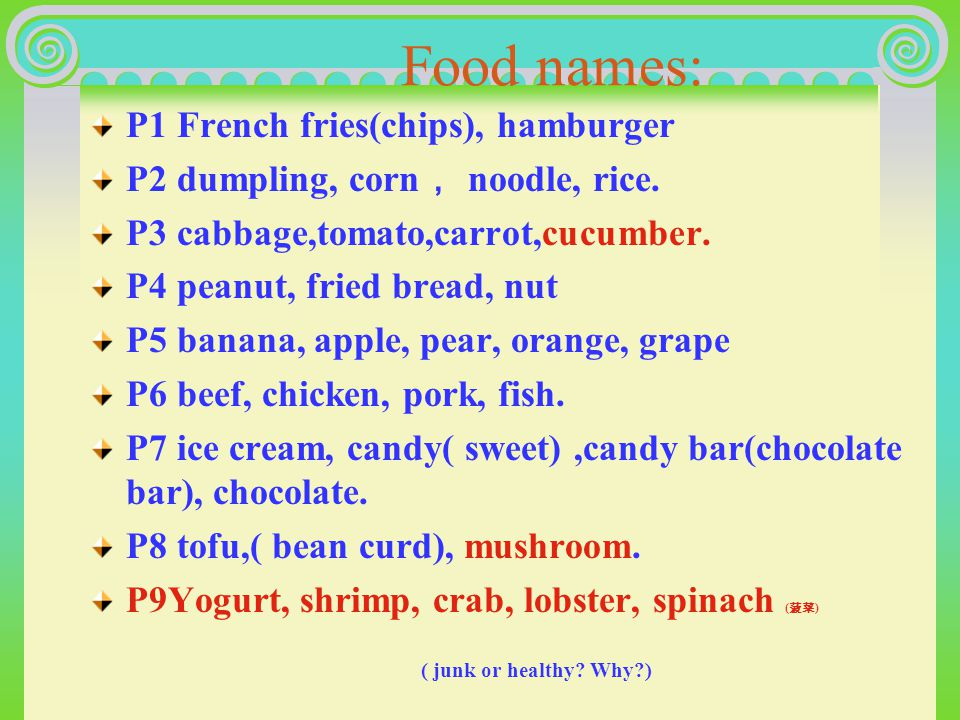 Unit 13 Goals and food names Warming up: Goals 1 Get to know some names of food 2 Tell what is junk food or healthy food and why.