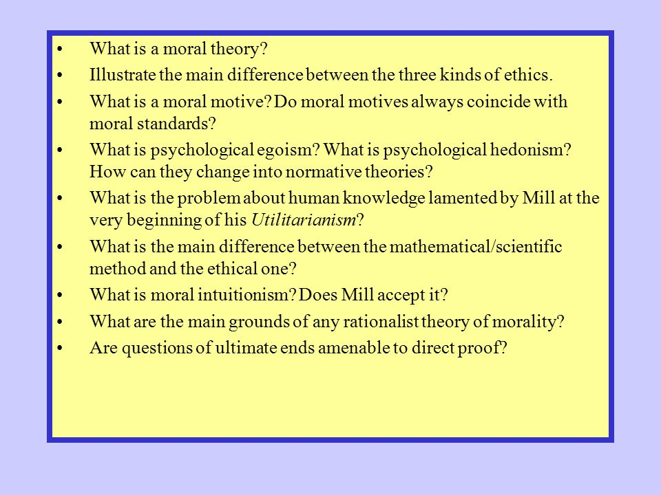 What is a moral theory? Illustrate the main difference between the three kinds of ethics. What is a moral motive? Do moral motives always coincide wit