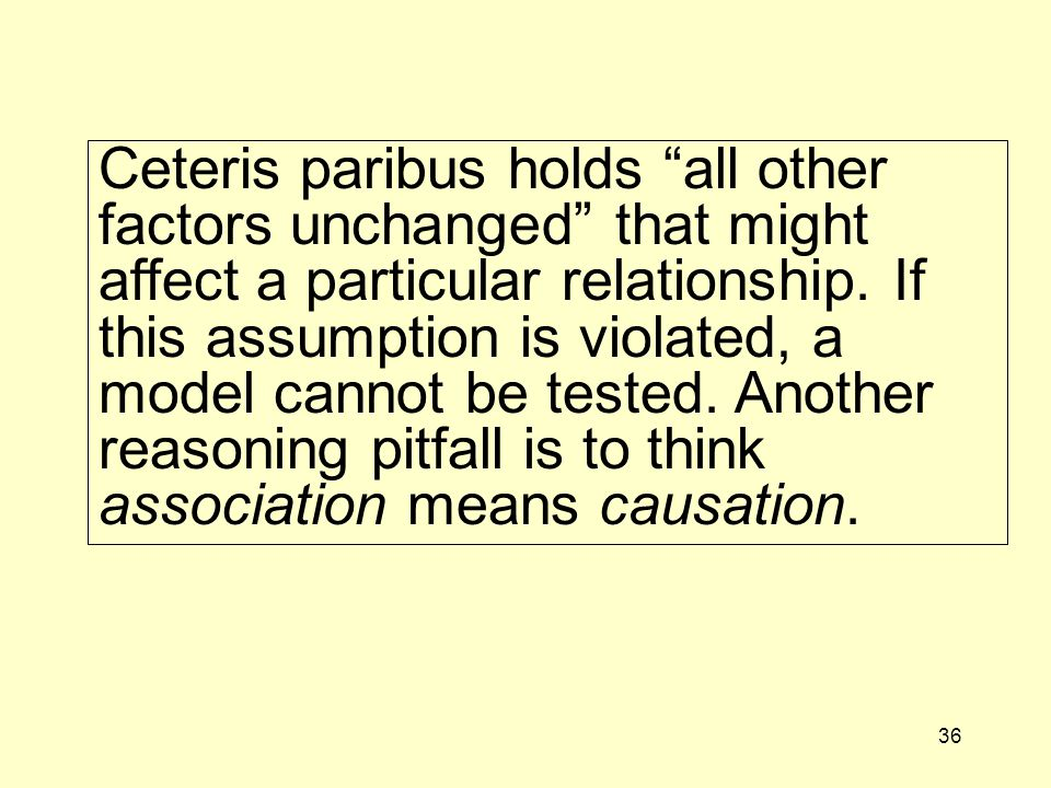 36 Ceteris paribus holds all other factors unchanged that might affect a particular relationship.