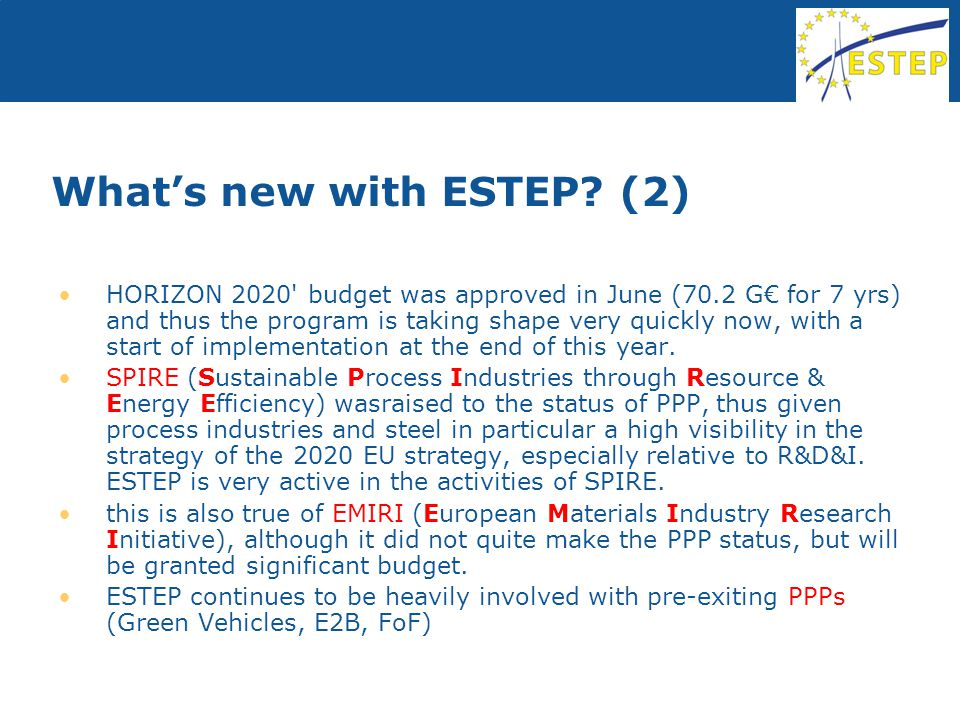 What's new with ESTEP.