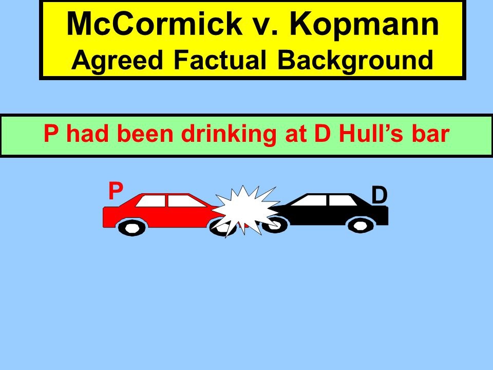 P had been drinking at D Hull's bar McCormick v. Kopmann Agreed Factual Background D P