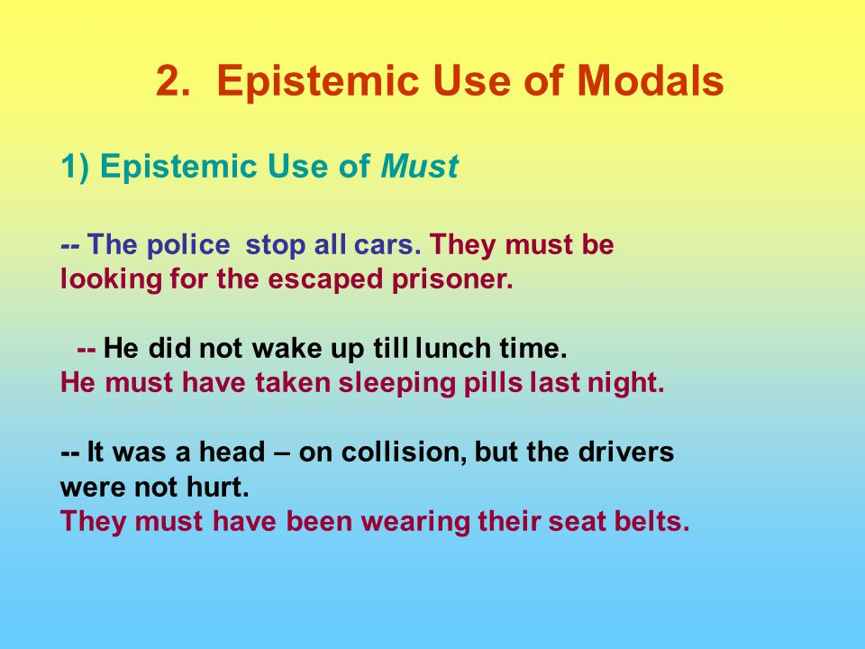 1) Epistemic Use of Must -- The police stop all cars. They must be looking for the escaped prisoner. -- He did not wake up till lunch time. He must ha