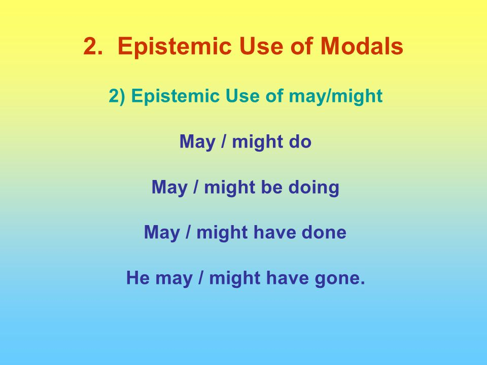 2) Epistemic Use of may/might May / might do May / might be doing May / might have done He may / might have gone.
