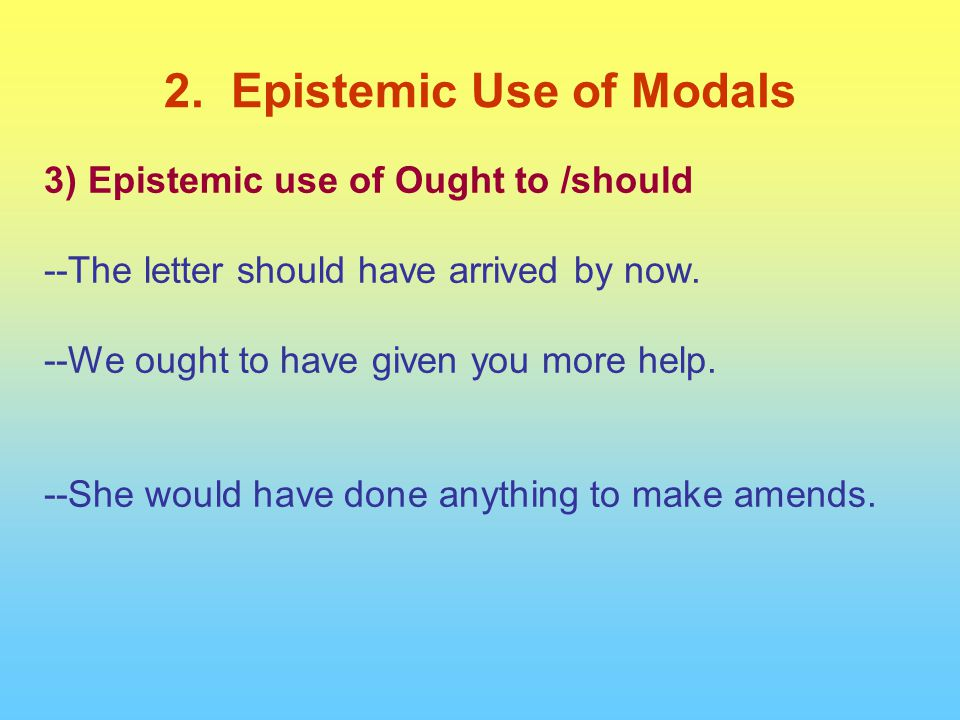 3) Epistemic use of Ought to /should --The letter should have arrived by now. --We ought to have given you more help. --She would have done anything t