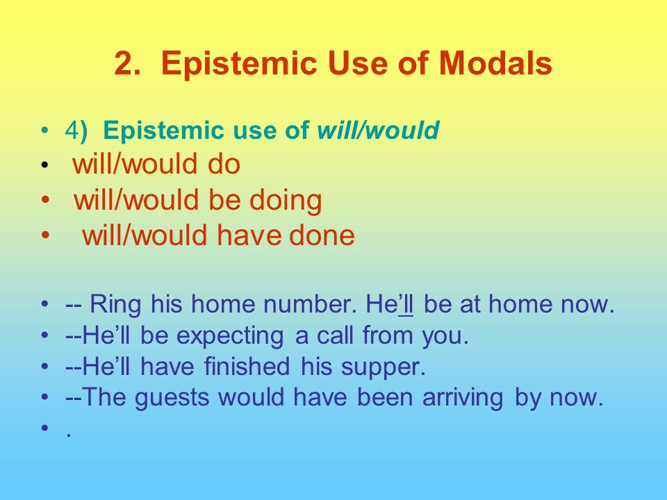 4) Epistemic use of will/would will/would do will/would be doing will/would have done -- Ring his home number. He'll be at home now. --He'll be expect