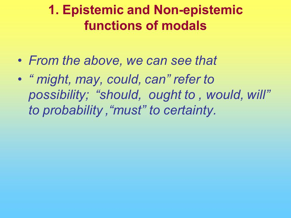 "From the above, we can see that "" might, may, could, can"" refer to possibility; ""should, ought to, would, will"" to probability,""must"" to certainty."