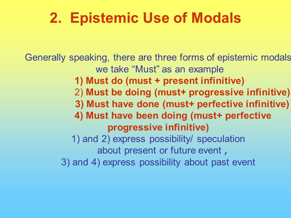 Generally speaking, there are three forms of epistemic modals we take Must as an example 1) Must do (must + present infinitive) 2) Must be doing (must+ progressive infinitive) 3) Must have done (must+ perfective infinitive) 4) Must have been doing (must+ perfective progressive infinitive) 1) and 2) express possibility/ speculation about present or future event, 3) and 4) express possibility about past event 2.