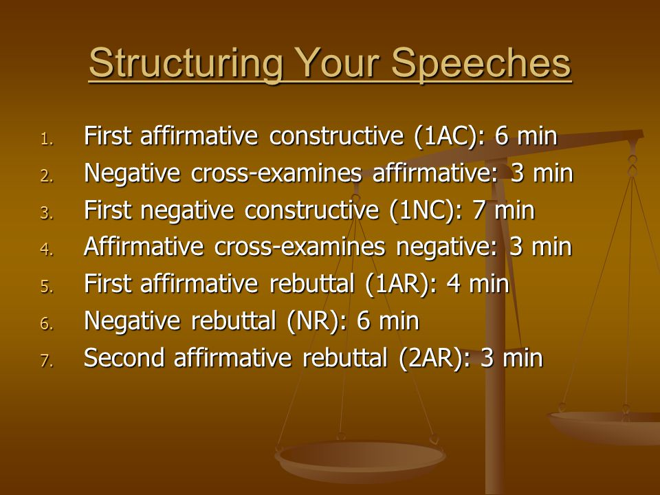 Structuring Your Speeches 1. First affirmative constructive (1AC): 6 min 2. Negative cross-examines affirmative: 3 min 3. First negative constructive