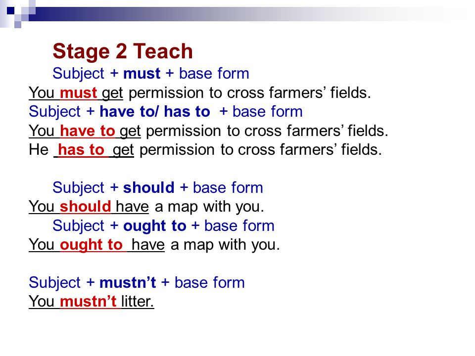 Stage 2 Teach Subject + must + base form You must get permission to cross farmers' fields.