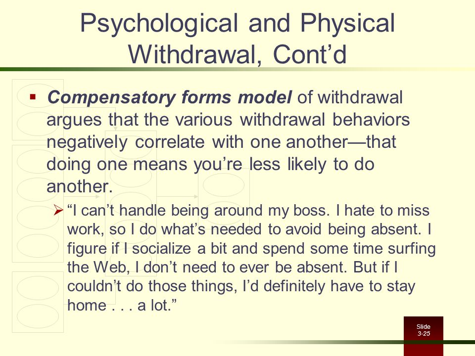 Slide 3-25 Psychological and Physical Withdrawal, Cont'd  Compensatory forms model of withdrawal argues that the various withdrawal behaviors negativ