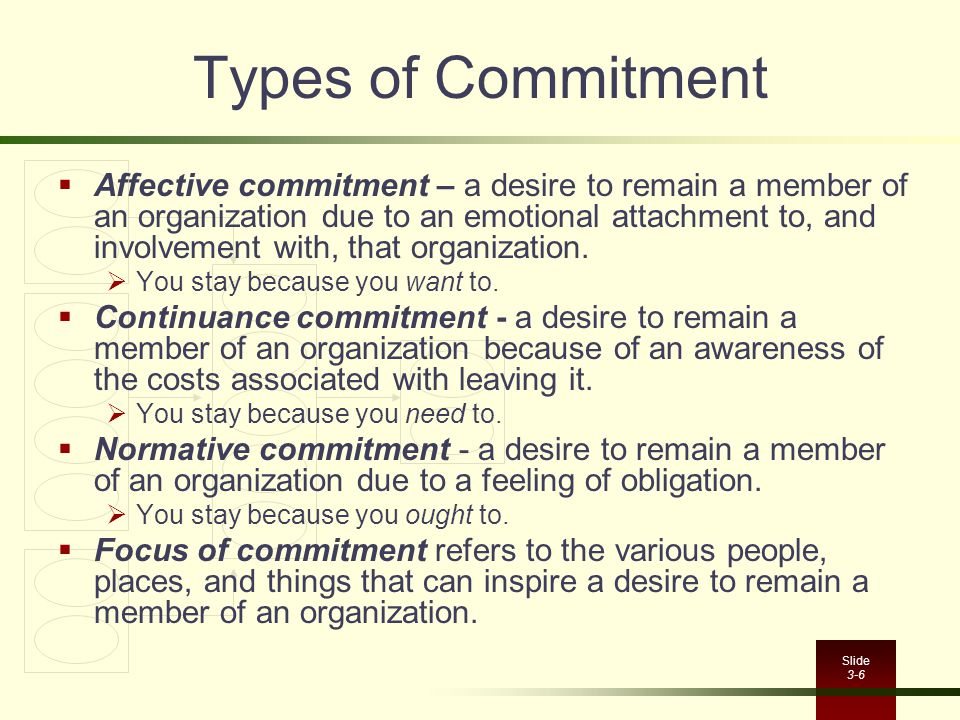Slide 3-6 Types of Commitment  Affective commitment – a desire to remain a member of an organization due to an emotional attachment to, and involveme