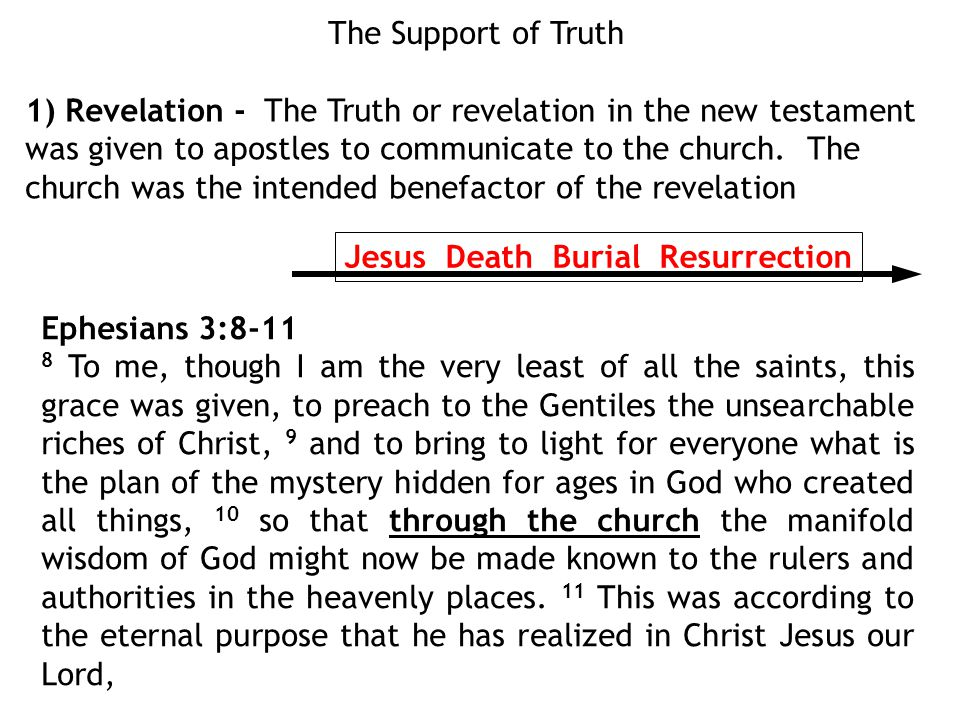 The Support of Truth 1) Revelation - The Truth or revelation in the new testament was given to apostles to communicate to the church.