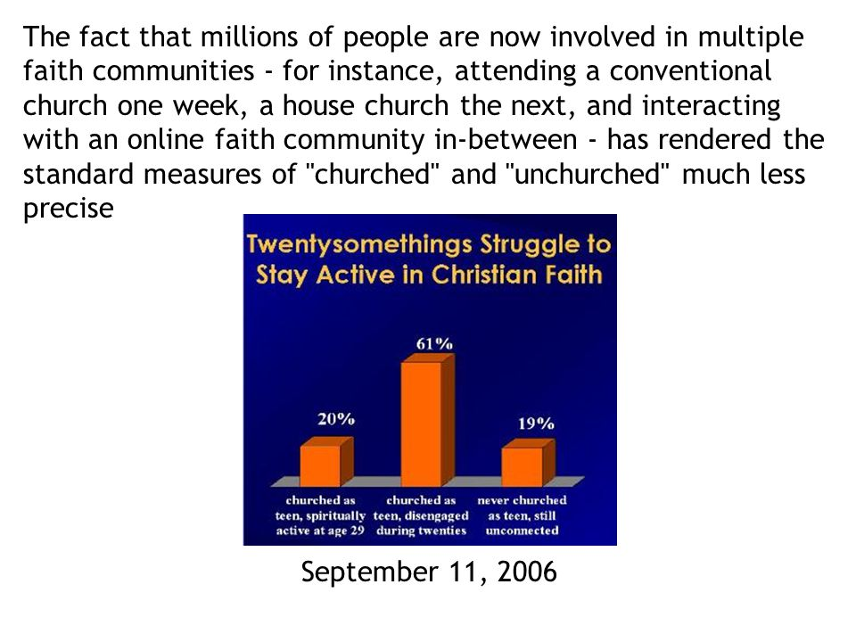 The fact that millions of people are now involved in multiple faith communities - for instance, attending a conventional church one week, a house church the next, and interacting with an online faith community in-between - has rendered the standard measures of churched and unchurched much less precise September 11, 2006