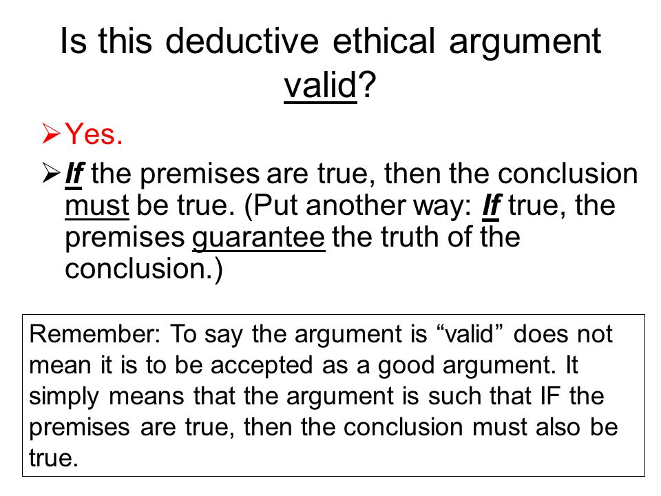 Is this deductive ethical argument valid?  Yes.  If the premises are true, then the conclusion must be true. (Put another way: If true, the premises