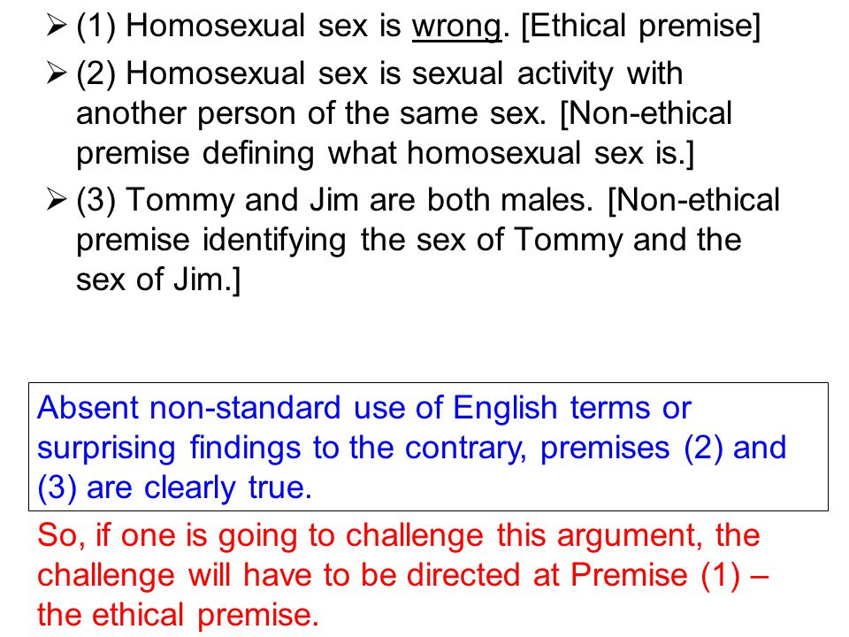  (1) Homosexual sex is wrong. [Ethical premise]  (2) Homosexual sex is sexual activity with another person of the same sex. [Non-ethical premise def