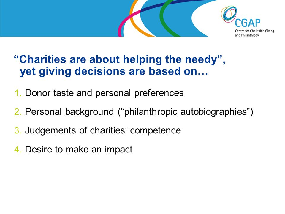 Charities are about helping the needy , yet giving decisions are based on… 1.