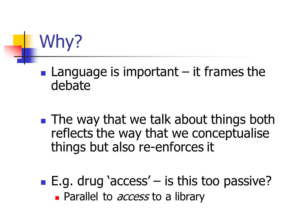 Why? Language is important – it frames the debate The way that we talk about things both reflects the way that we conceptualise things but also re-enf