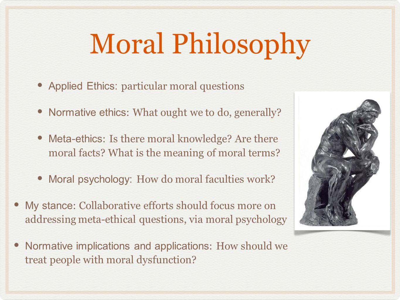 Moral Sentimentalism Moral Sentimentalism (David Hume) Opposed to Rationalism (Immanuel Kant) Moral judgments can ' t be based on reason alone - emotions are needed In particular: sympathy The more precise role of emotion in morality was and remains unclear