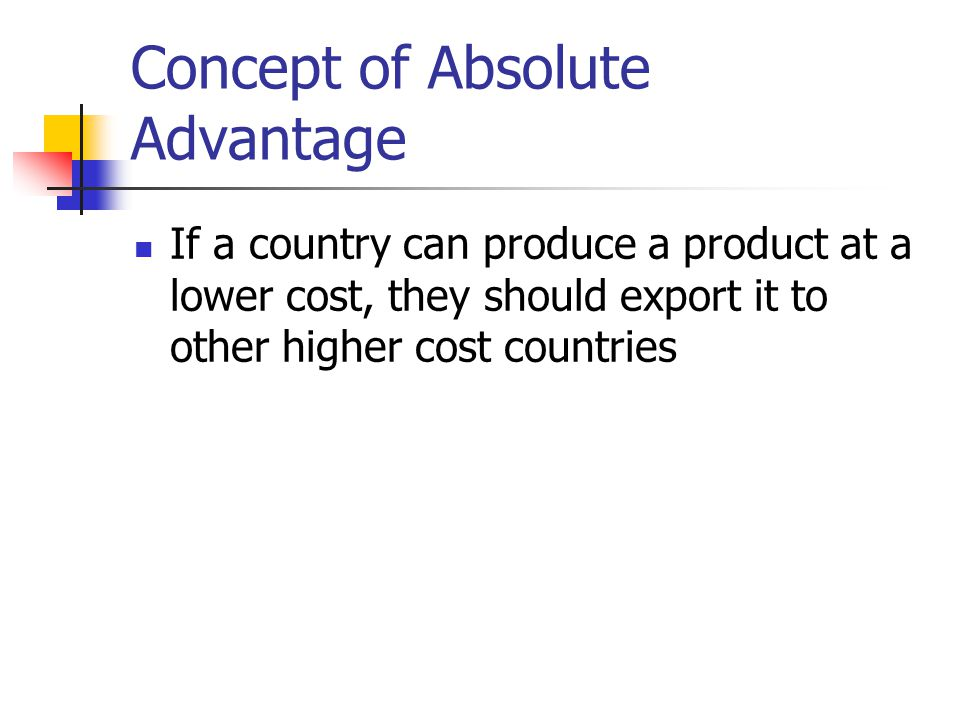 Concept of Absolute Advantage If a country can produce a product at a lower cost, they should export it to other higher cost countries