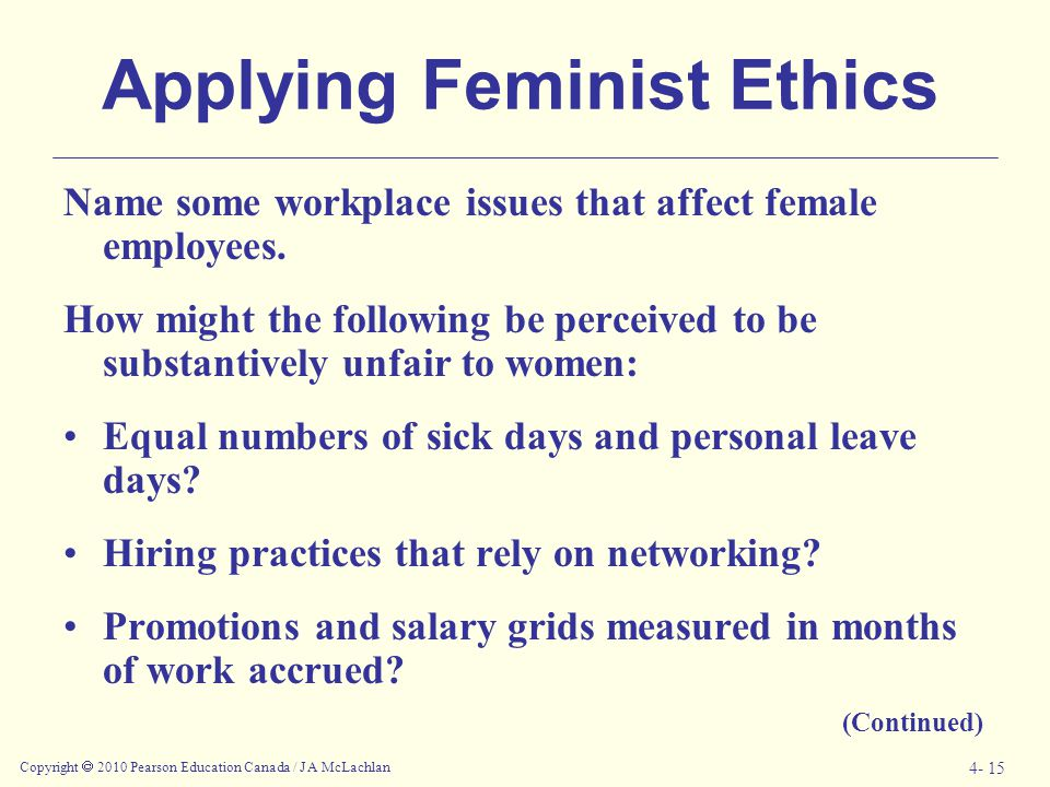Copyright  2010 Pearson Education Canada / J A McLachlan 4- 15 Applying Feminist Ethics Name some workplace issues that affect female employees. How