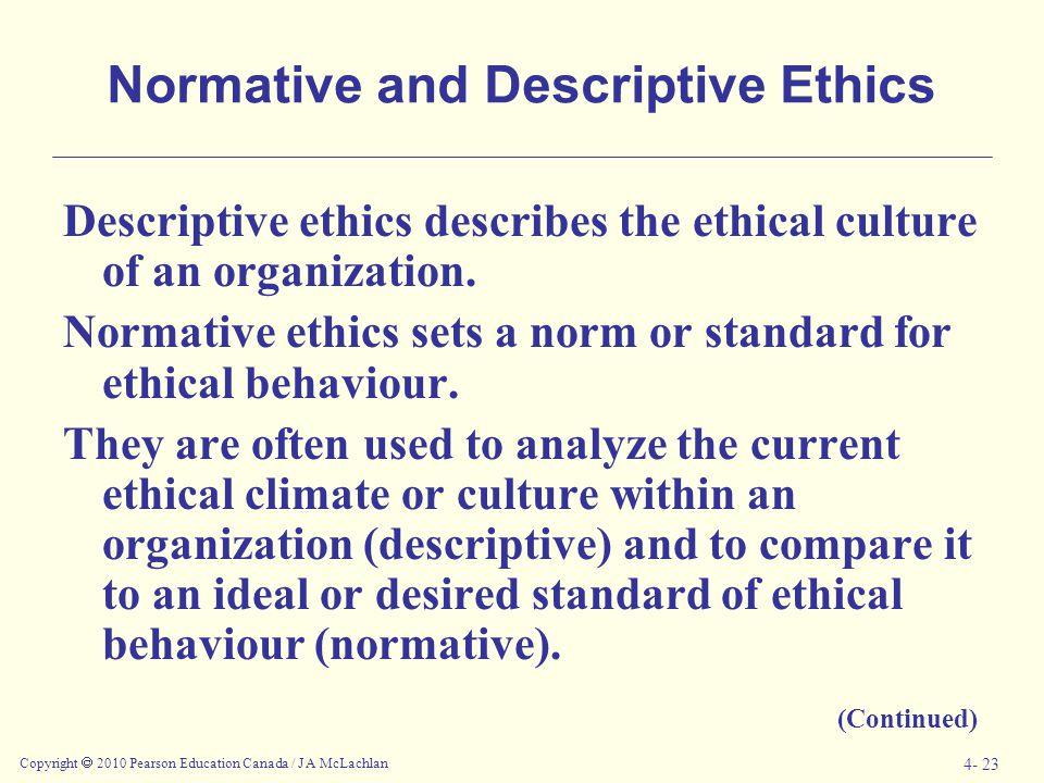 Copyright  2010 Pearson Education Canada / J A McLachlan 4- 23 Normative and Descriptive Ethics Descriptive ethics describes the ethical culture of a