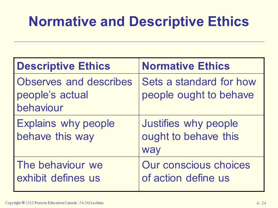 Copyright  2010 Pearson Education Canada / J A McLachlan 4- 24 Normative and Descriptive Ethics Descriptive EthicsNormative Ethics Observes and descr