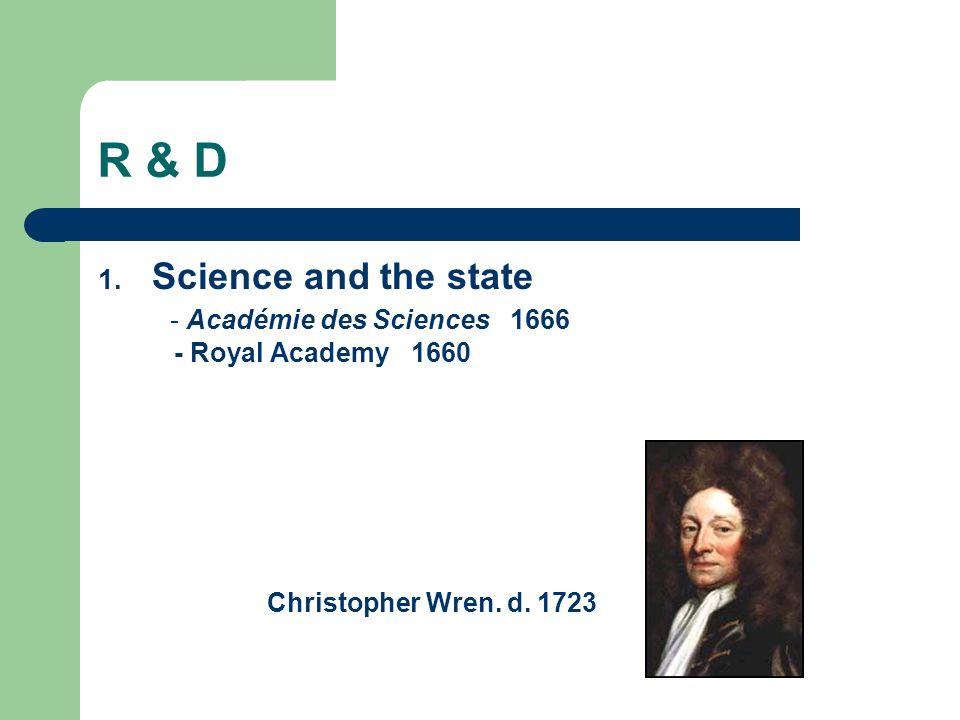 R & D 1. Science and the state - Académie des Sciences 1666 - Royal Academy 1660 Christopher Wren. d. 1723