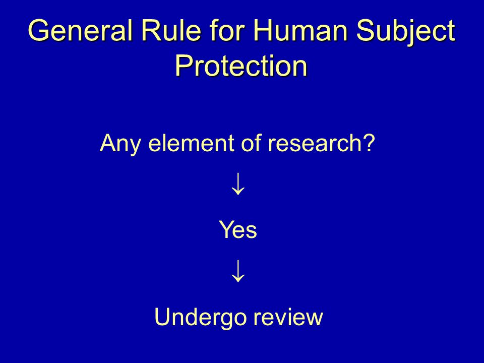 General Rule for Human Subject Protection Any element of research?  Yes  Undergo review